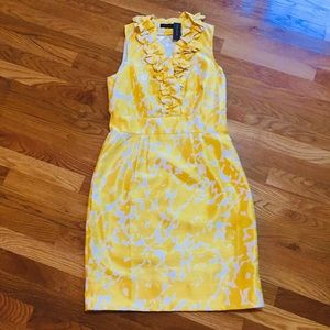 The Limited Yellow Ruffle Neck Sheath Dress